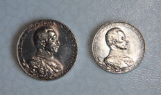 German Empire - 2 & 3 Mark 1913A Prussia - 25th Year of Reign - Silver