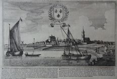Beverwijk;  Blaeu / Bouttats / Spilman - 4 images on 3 pages - 17th/18th/19th century