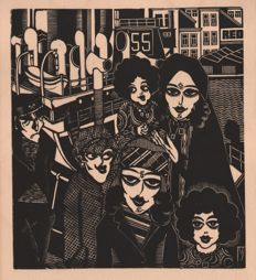 Henri van Straten (1892 - 1944) -The Immigrants - Before a red Star Line Ship - 1927