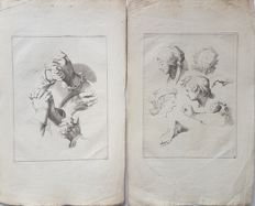2 prints by Frederik Bloemaert (1614-1690), after Abraham Bloemaert (1564-1651) - Various studies - 17th/18th century