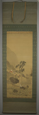 "Hand-painted scroll painting - Samurai with ship - signed ""Fuko"" - Japan - late 19th century"