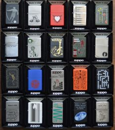 "Collection of 20 limited edition Zippo lighters ""Find the hidden Z"" in original box and with documents"