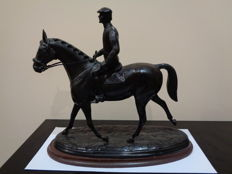 Sculpture of a rider on horseback - bronze - Belgium - first half of 20th century
