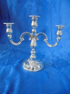 3 flame silver-plated large candle holder by BMF Berlin.