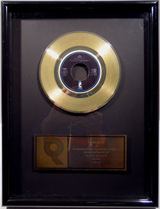 "U2 - Desire -  7"" US RIAA Sales Music Single Record Award gold record (  golden )"