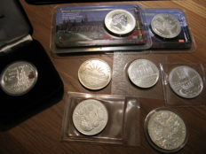 World - various themes - 1986/2008 - 8 different silver coins, Austria, Great Britain, Cuba, Samoa, Theresa, 2 unknown.