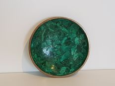 Bowl in polished Green malachite - with bronze edge - 18.5 cm - 560 g
