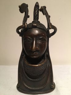 Bronze sculpture, woman's head with headdress