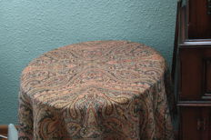 Beautiful antique wool double woven tablecloth with paisley motif