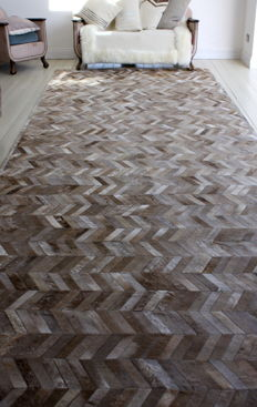 Herringbone (shaved hair-on-hide) rug - 1.95m x 6.45m