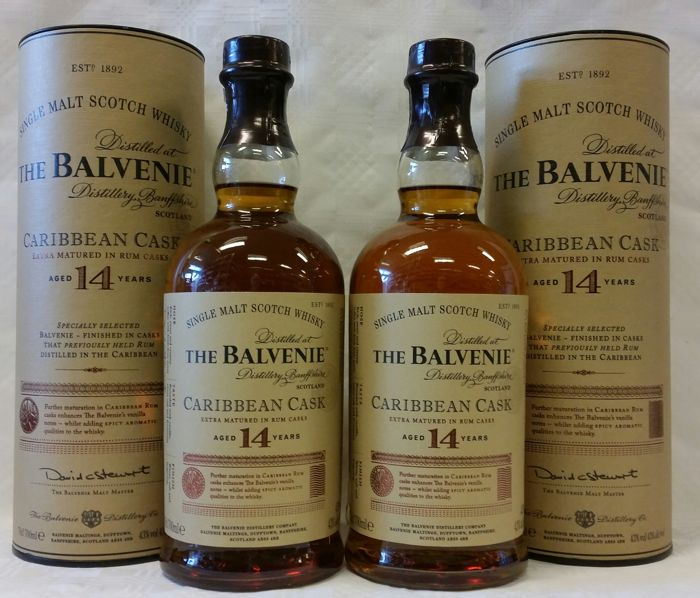 Balvenie 14 years old Caribbean Rum Cask Finish - 70cl - 2 flessen