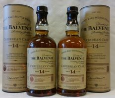 2 bottles - Balvenie 14 years old - Caribbean Cask - in original tubes
