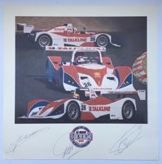 Unique signed Le Mans motor racing print, 1999, Racing for Holland