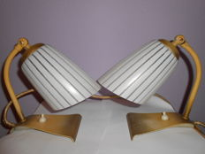 Unkown designer - Old couple table lamps ,wawes foot glass shade.