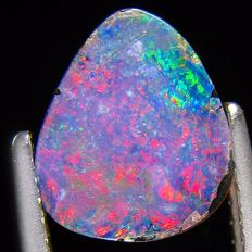Red  Flashing Opal Doublet  - fine quality 9.5 x 8.2 x 2.2 mm 1.31 ct