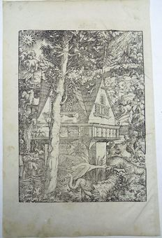 Master of Petrach [Hans Weiditz 1495-1537] - Illustrated post-incunabula leaf - The Witches House in the forest: Rural Landascape, Elephant Storks, Cobweb, Storm, Bestiary, Death, Monster - 1544