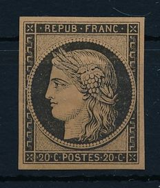 France 1849 - 20 cent Ceres black on yellowish paper - Michel 3 ND