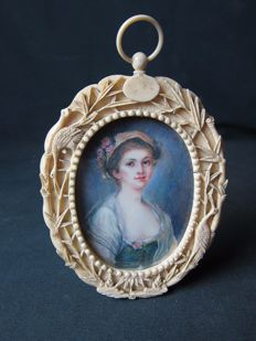 Miniature painting on ivory - France - 19th century