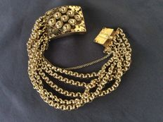 Item of jewellery - gold bracelet - Old Dutch antique square clasp - 5 strands jasseron
