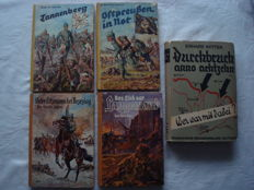 World War I 1914-1918; Lot with 5 books from 1918-1933