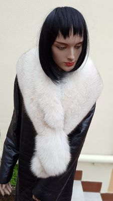 Extra-large wrap/scarf - Polar Fox Fur - MADE IN ITALY