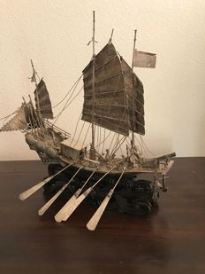 Sizeable Silver Chinese Junk - c. 1880-1900