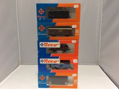 Roco - 4310A, 4301F, 4314D, 48037 - 5 various goods wagons (2301)
