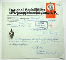 National Socialist War Victims Badge with Document