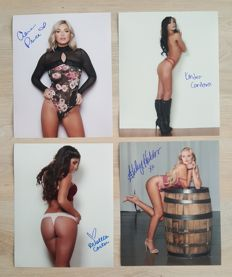 Signed; Lot with 4 photo of Playboy Playmates and Playboy Cyber-Girls - 2017