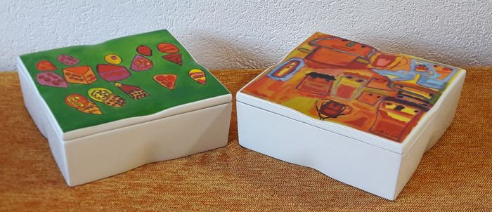 Genial Two Ceramic Cake   Or Storage Boxes   Modern Design With Beautiful  Presentation Boxes