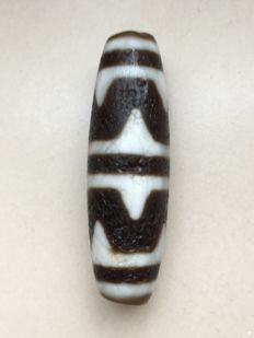 "Antique Agate Dzi ""wave pattern"" Bead - 47 mm x 13 mm"