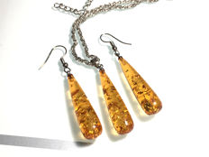Vintage silver and Baltic Amber drop earrings and pendant with chain  in cogniac colour, long earrings, no reserve