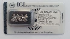 1.78ct 11 Diamond  Natural Triangular Shapes E-F SI1-SI3     IGL Lab   -NO RESERVE
