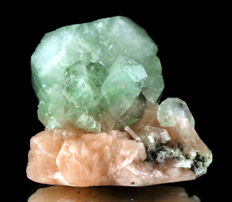 Superb Green Cubical Crystal Of Apophyllite on Stilbite
