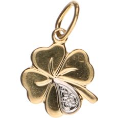14 kt yellow gold pendant in the shape of a 4-leaf clover, set with 1 diamond - Leaf diameter: 10.57 mm