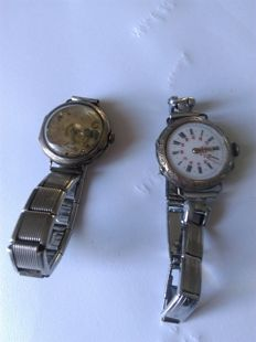 lot of 2 pocket watches on wrist watch, gold-plated/ silver from the 'Poilus'