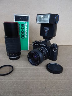 PETRI MF-101A – zoom lens Cosina 3.5-4.5/35-70 mm + Macro zoom Miccador 4.5/80-200 mm (with its box) + flash Vivitar 2800