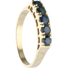 14 kt - Yellow gold ring set with sapphire - Ring size: 17.5 mm