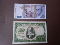 Spain - 1,000 pesetas 1951 and 10,000 pesetas 1992 - Pick 143a and 166