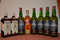 8 bottles - 2 Ballantines, 1 Johnnie Walker Red Label, 5 Clan Campbell