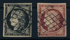 France - 1849 - ceres 20 cents black and 1 franc carmine - Michel 3x and 7a