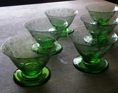 6 Baccarat champagne coupes - marked