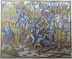 Livius Livy - rubricated incunabula woodcut leaf - Battle Scene. Breaking of the Siege. - 1505