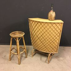 Vintage tiki bamboo Bar With barstool, France 1950s