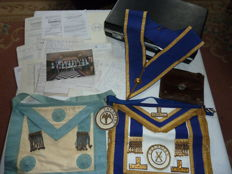 Collection Of Masonic Aprons Sash Badge & Pictures With Black Masonic Brief Case