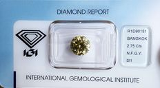 Natural Fancy Greenish Yellow 2.75.Carats, brilliant cut