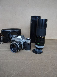 CANON AE 1 camera + case + 2 Canon lenses : 1.8/50 mm + zoom 5.6/11-200 mm (with case)