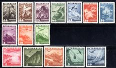 Austria - 1935  - air plane on landscapes, 5 ot 10 S, Michel 598-612