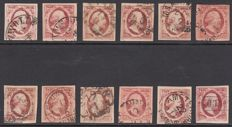 The Netherlands 1852 - King Willem III, First emission - NVPH 2 (12 x), with plates and positions listed.
