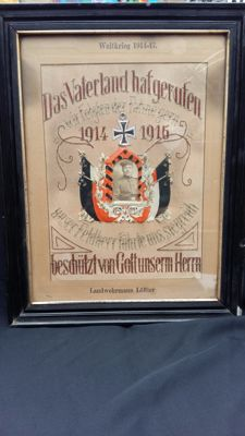 Commemorative needlework of a Landwerhmann 1914-1915
